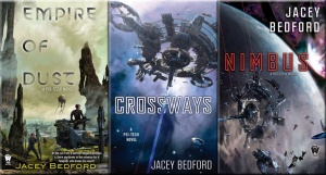 Covers of Empire of Dust, Crossways & Nimbus by Jacey Bedford